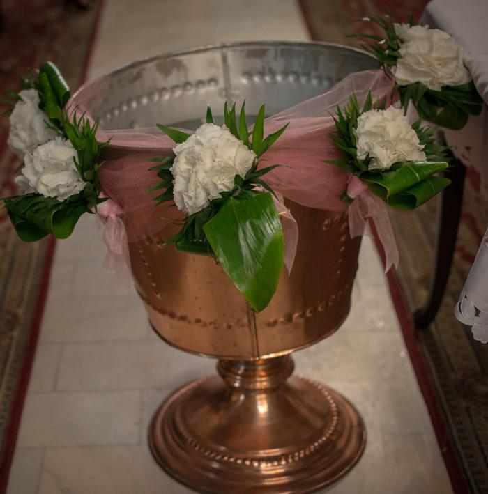 Ghirlanda cristelnita din hortensii
